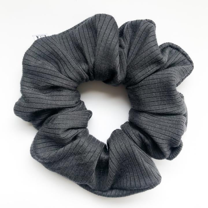 Slate Ribbed Scrunchie