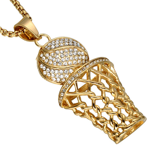 New punk stainless steel bling full rhinestone men jewelry new punk stainless steel bling full rhinestone men jewelry basketball sports gold pendants necklaces for mens aloadofball Gallery