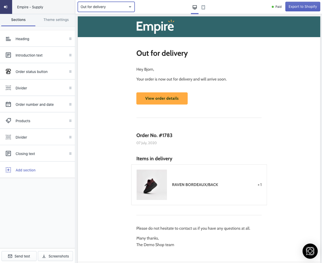 Example of Shopify Out for Delivery email