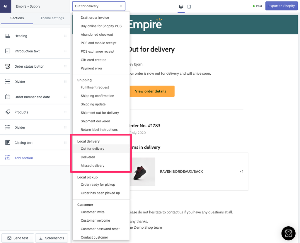 Image showing the 3 new Shopify local delivery emails in the OrderlyEmails editor.