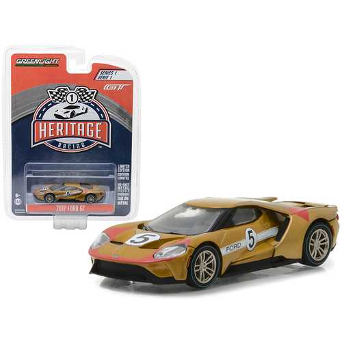 2017 Ford GT Gold #5 - Tribute to 1966 Ford GT40 MK II #5 Racing Heritage Series 1 1/64 Diecast Model Car by Greenlight