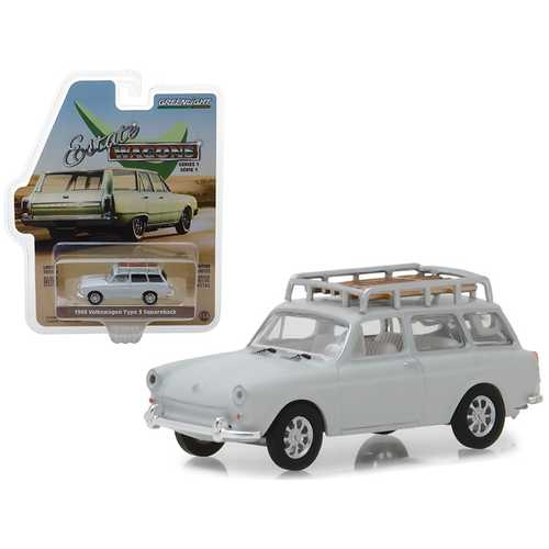 "1968 Volkswagen Type 3 Squareback Lotus White with Roof Rack ""Estate Wagons"" Series 1 1/64 Diecast Model Car by Greenlight"