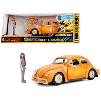 "Volkswagen Beetle Weathered Yellow with Robot on Chassis and Charlie Diecast Figurine ""Bumblebee"" (2018) Movie (""Transformers"" Series) ""Hollywood Rides"" Series 1/24 Diecast Model Car by Jada"