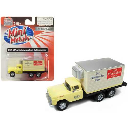 "1960 Ford Box (Reefer) Refrigerated Truck ""Old Milwaukee Beer"" Yellow 1/87 (HO) Scale Model by Classic Metal Works"