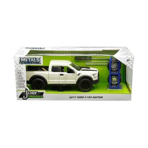 "2017 Ford F-150 Raptor Pickup Truck Off White with Black Stripes and Extra Wheels ""Just Trucks"" Series 1/24 Diecast Model Car by Jada"