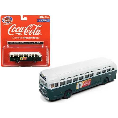 "GMC TDH-3610 Transit Bus (Chicago) ""Coca Cola"" Green with White Top 1/87 (HO) Scale Model by Classic Metal Works"