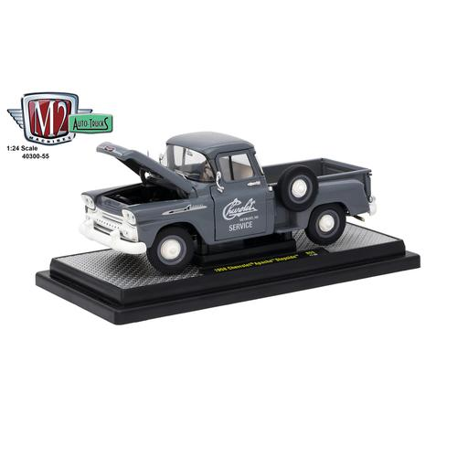 1958 Chevrolet Apache Stepside Truck Granite Gray 1/24 Diecast Model Car  by M2 Machines