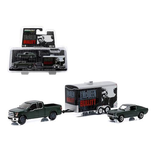 "2015 Ford F-150 and 1968 Ford Mustang GT with Enclosed Car Hauler Set ""Bullitt"" Movie 1/64 Diecast Model Cars by Greenlight"