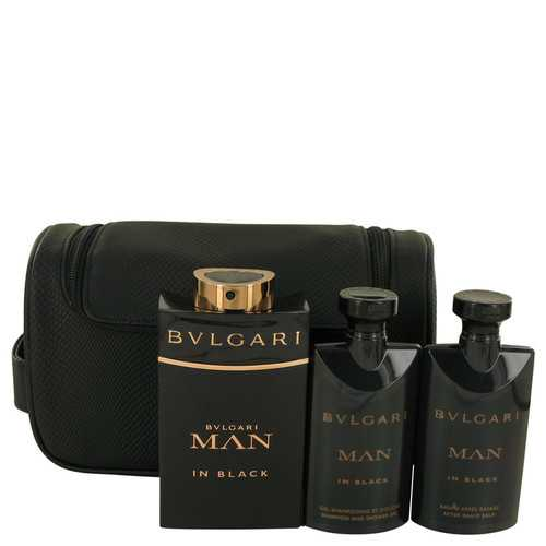 Bvlgari Man In Black by Bvlgari Gift Set -- 3.4 oz Eau De Parfum Spray + 2.5 oz After Shave Balm +2.5 oz Shower Gel + Free Pouch (Men)