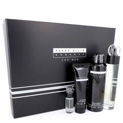 PERRY ELLIS RESERVE by Perry Ellis Gift Set -- 3.4 oz Eau De Toilette Spray + 6.8 oz Body Spray + 3 oz Shower Gel + .25 oz Mini EDT Spray (Men)