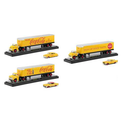 "Auto Haulers ""Coca-Cola"" Release Set of 3 Trucks Yellow 1/64 Diecast Models by M2 Machines"