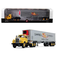 "Mack B-61 Day Cab Yellow with 40' Vintage Reefer Trailer ""Campbell 66 Express Inc."" 21th in a ""Fallen Flag Series"" 1/64 Diecast Model by First Gear"