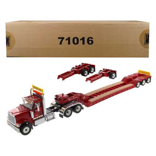 International HX520 Tandem Tractor Red with XL 120 Lowboy Trailer 1/50 Diecast Model by Diecast Masters