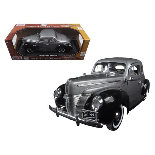 "1940 Ford Deluxe Grey with Black ""Timeless Classics"" 1/18 Diecast Model Car by Motormax"
