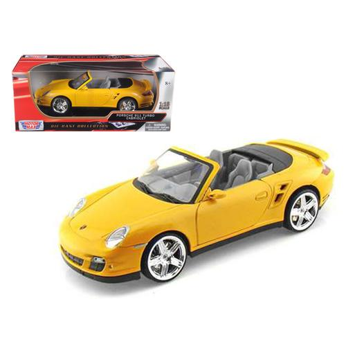 Porsche 911 (997) Turbo Convertible Yellow 1/18 Diecast Car Model by Motormax
