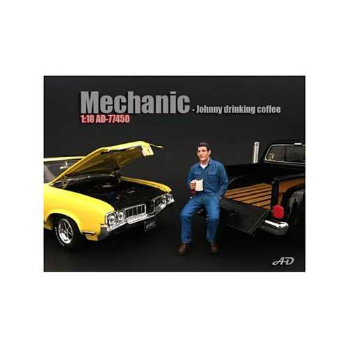 Mechanic Johnny Drinking Coffee Figurine / Figure For 1:18 Models by American Diorama