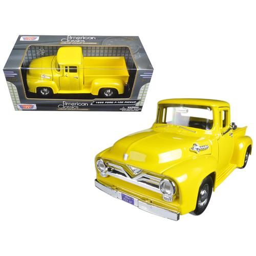 1955 Ford F-100 Pickup Truck Yellow 1/24 Diecast Model Car by Motormax