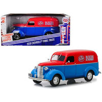 "1939 Chevrolet Panel Truck ""STP"" Blue with Red Top Running on Empty Series 1/24 Diecast Model Car by Greenlight"