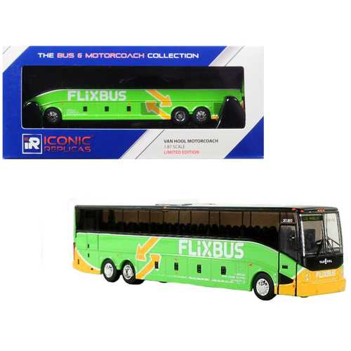 "Van Hool CX-45 Motorcoach Transit Bus ""FlixBus"" (Los Angeles) Green 1/87 Diecast Model by Iconic Replicas"