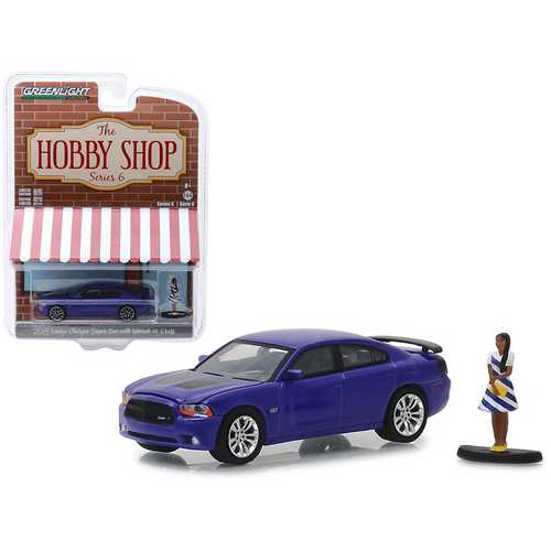 "2013 Dodge Charger Super Bee Metallic Purple with Black Stripes and Woman in Dress Figure ""The Hobby Shop"" Series 6 1/64 Diecast Model Car by Greenlight"