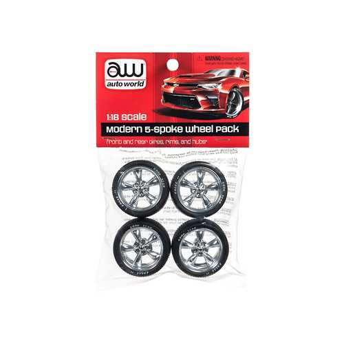 Modern 5 Spoke Wheel Pack of 4 pieces 1/18 by Autoworld