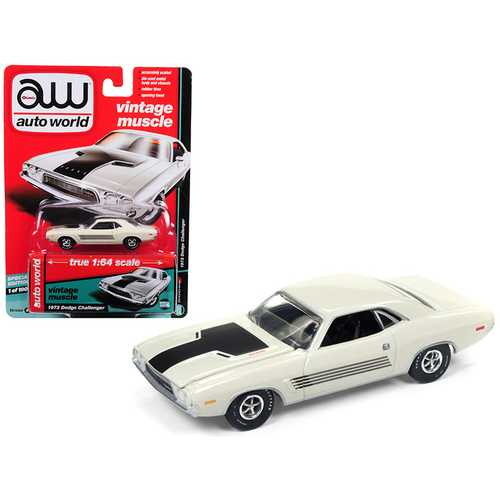 "1972 Dodge Challenger Rallye Dover White ""Auto World's Premium"" Limited Edition to 1800 pieces Worldwide 1/64 Diecast Model Car by Autoworld"