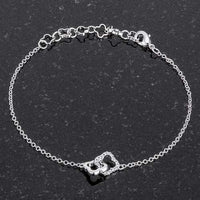 .1 Ct Rhodium Bracelet with Interlocking Floral Links