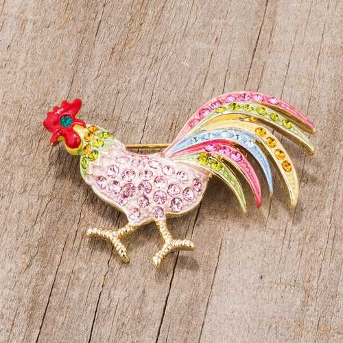 Gold Tone Multicolor Rooster Brooch With Crystals