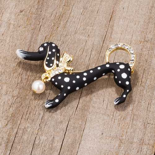 Black Dachshund Brooch With Crystals