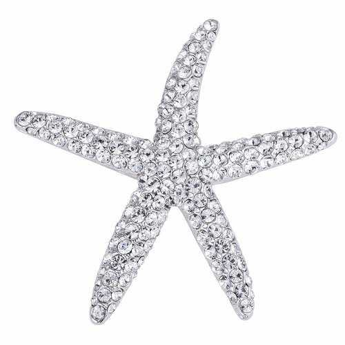 Silvertone Clear Crystal Starfish