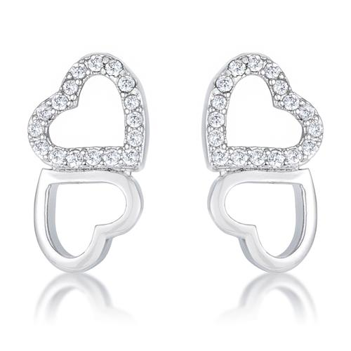 .17 Ct Melded Hearts Rhodium and CZ Stud Earrings