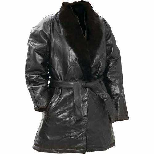 Genuine Lambskin Leather Ladies Coat with Genuine Rabbit Fur Collar