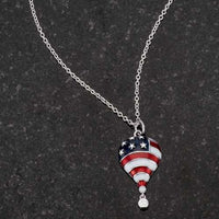 .1 Ct Patriotic Hot Air Balloon Rhodium Necklace with CZ