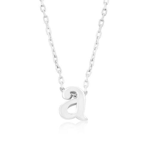 Rhodium Plated Finish Initial A Pendant