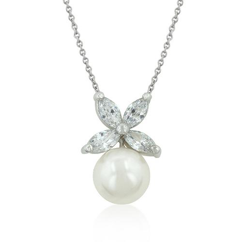 Butterfly White Pearl Pendant