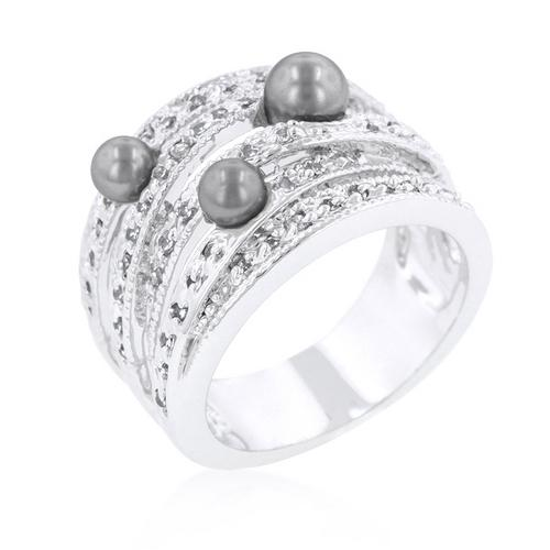 Gray Pearl Cocktail Ring