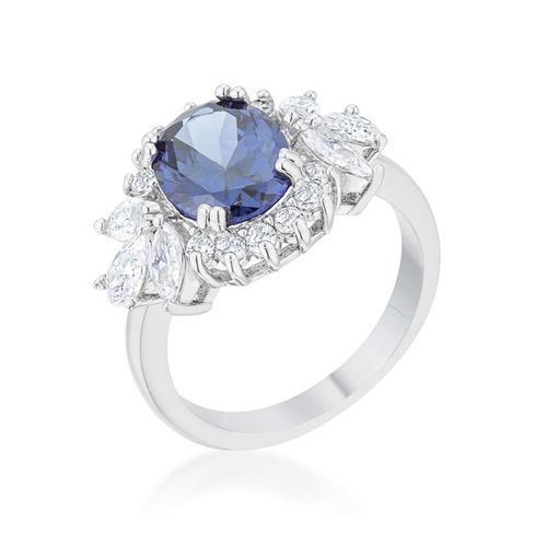 Krizia 4.2ct Tanzanite CZ Rhodium Classic Ring