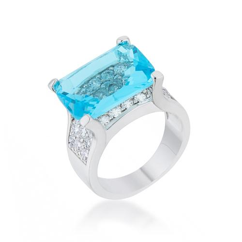 Mina 15.4ct Aqua CZ Rhodium Cocktail Ring