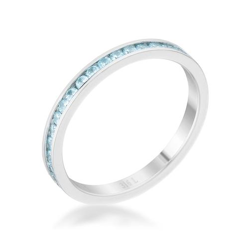 Teresa 0.5ct Aqua CZ Stainless Steel Eternity Band