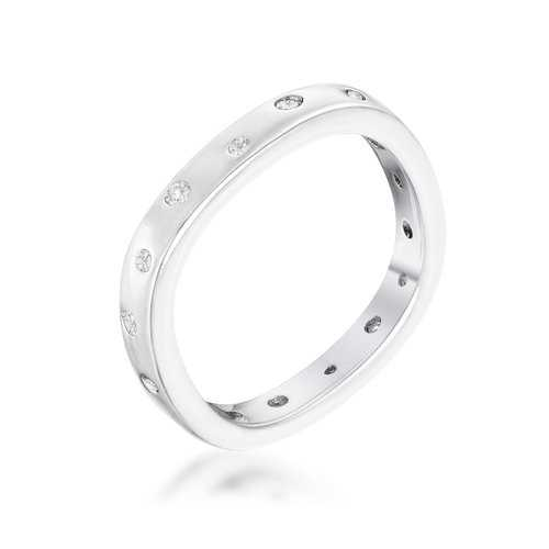 .23Ct Rhodium Plated Cz Speckled Square Shaped Stackable Band