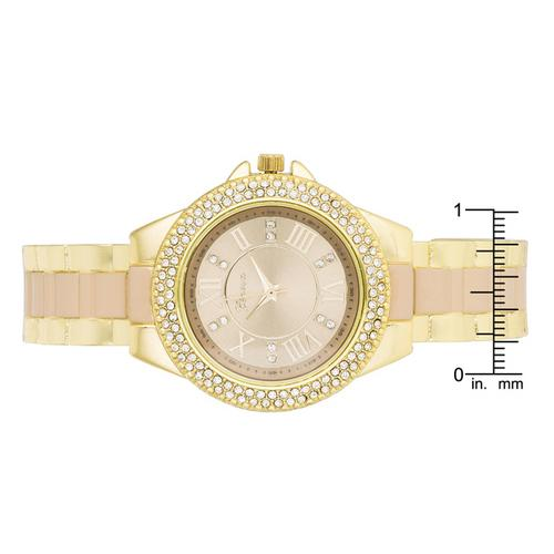 Gold Metal Cuff Watch With Crystals - Beige