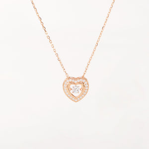 Sparkling Dance Heart Necklace, 18k Rose Gold on Sterling Silver - Pavcier Unique Jewelry