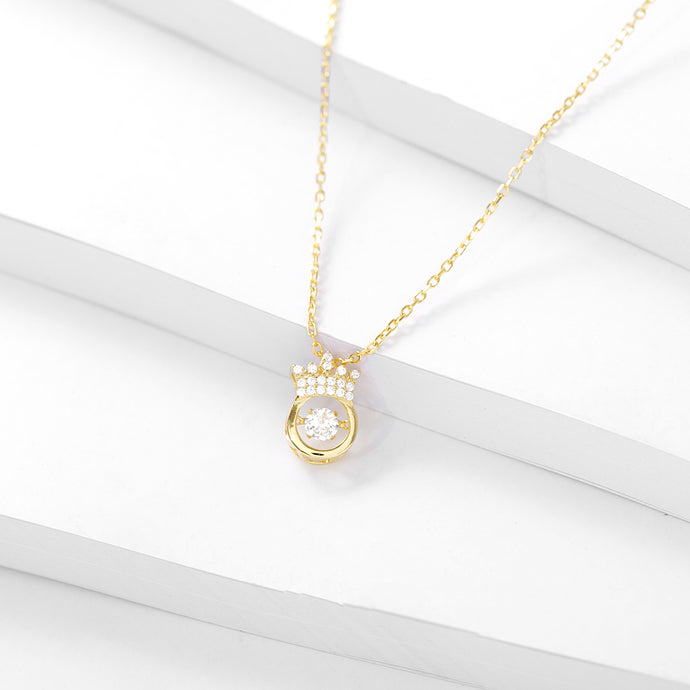 Sparkling Dance Crown Necklace, 18k Gold on Sterling Silver - Pavcier Minimalist Jewelry