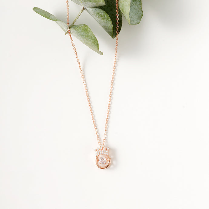 Sparkling Dance Crown Necklace, 18k Rose Gold on Sterling Silver - Pavcier Unique Jewelry
