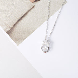 Sparkling Dance Crown Necklace, Sterling Silver - Pavcier Minimalist Jewelry