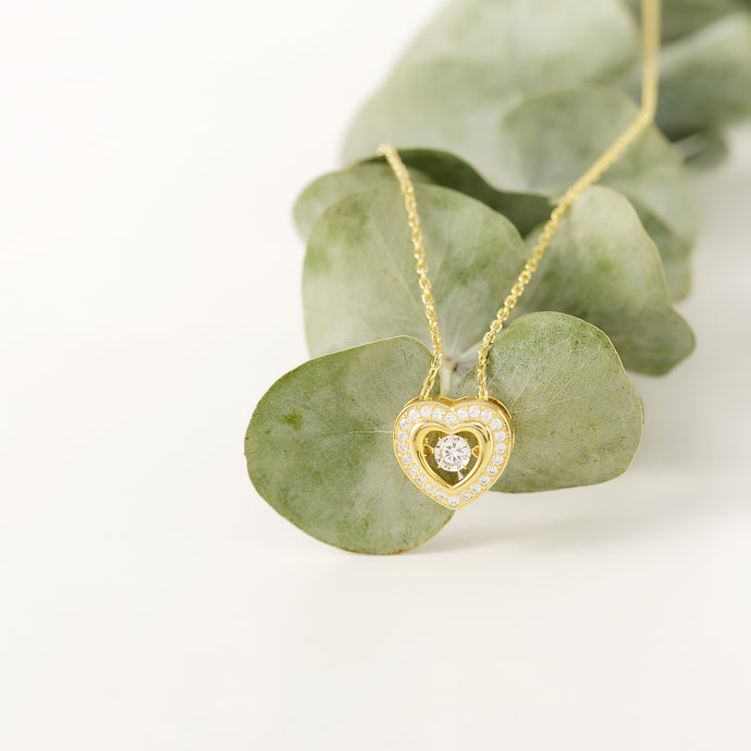 Sparkling Dance Heart Necklace, 18k Gold on Sterling Silver - Pavcier Minimalist Jewelry