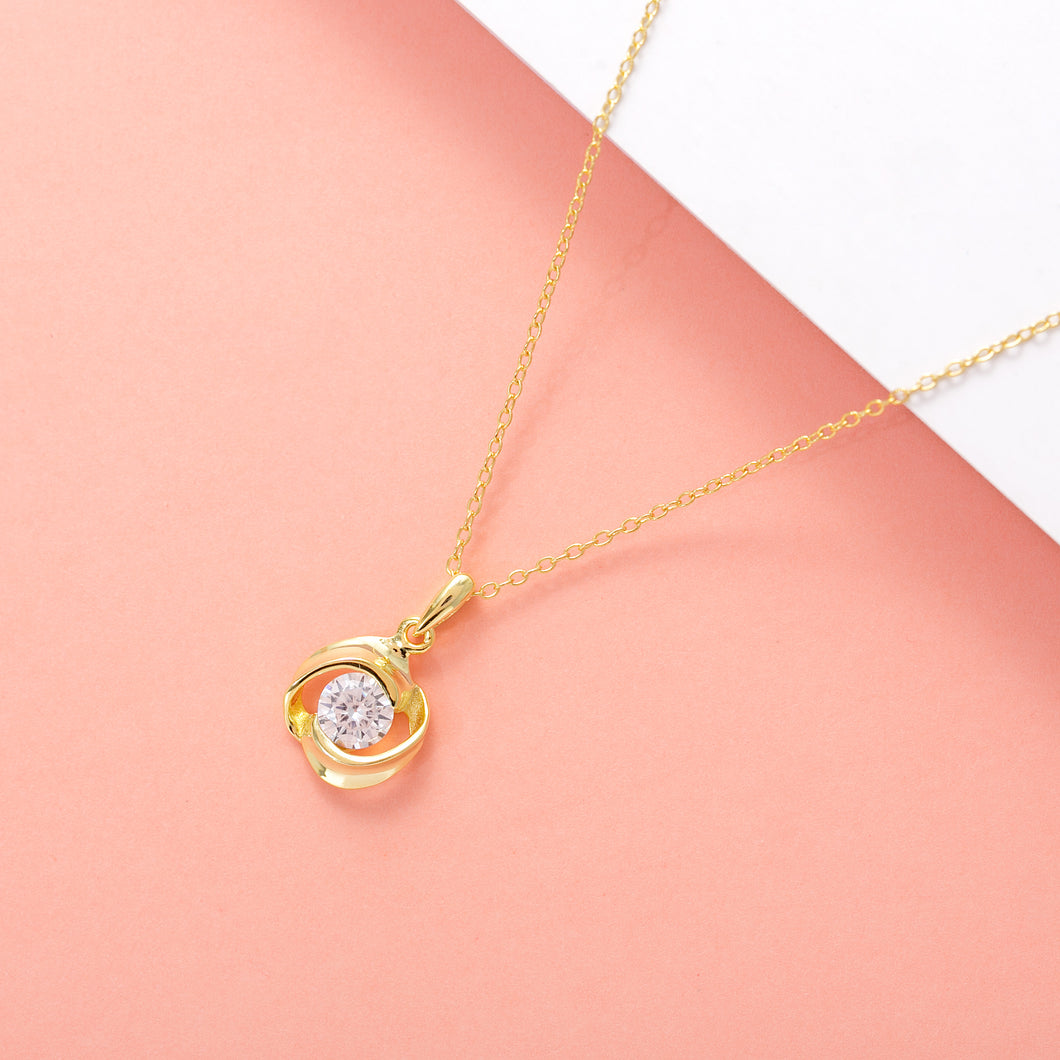 Rose Luna Necklace, 18k Gold on Sterling Silver - Pavcier Unique Jewelry