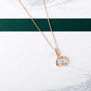 Rose Luna Necklace, 18k Rose Gold on Sterling Silver - Pavcier Unique Jewelry