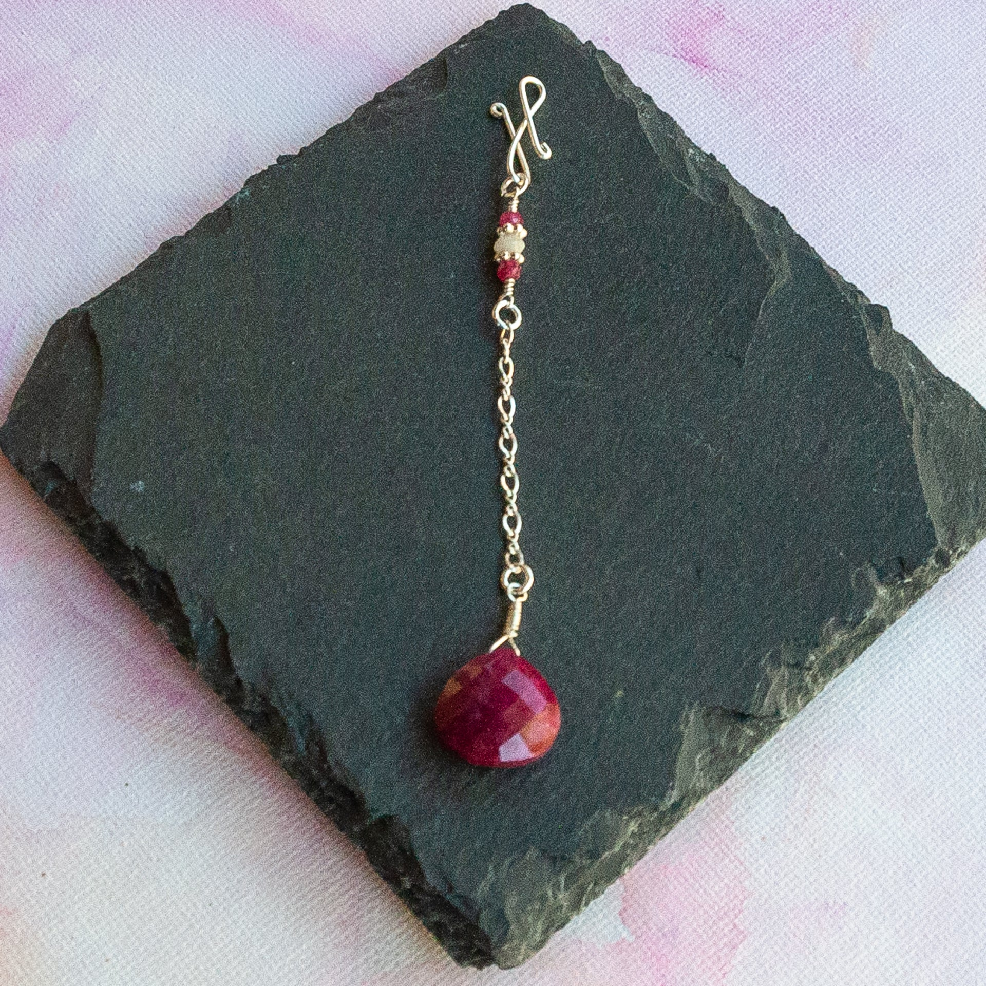 Ruby Long Infinity Pendant