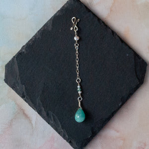 Amazonite Long Infinity Pendant